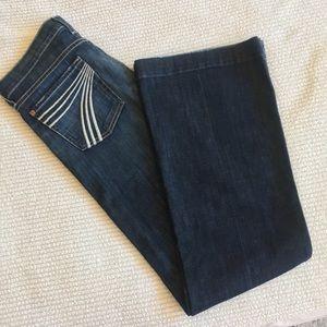 7 Seven Mankind Dojo flare leg dark wash jeans 28